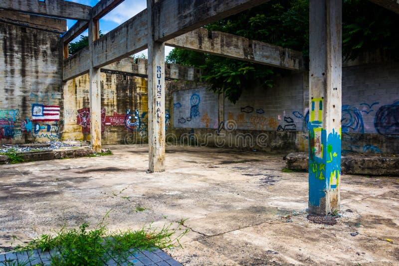在一个老大厦的废墟的街道画在幽谷岩石, Pennsylva的 免版税库存照片