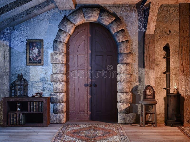 在一个老村庄的门 向量例证