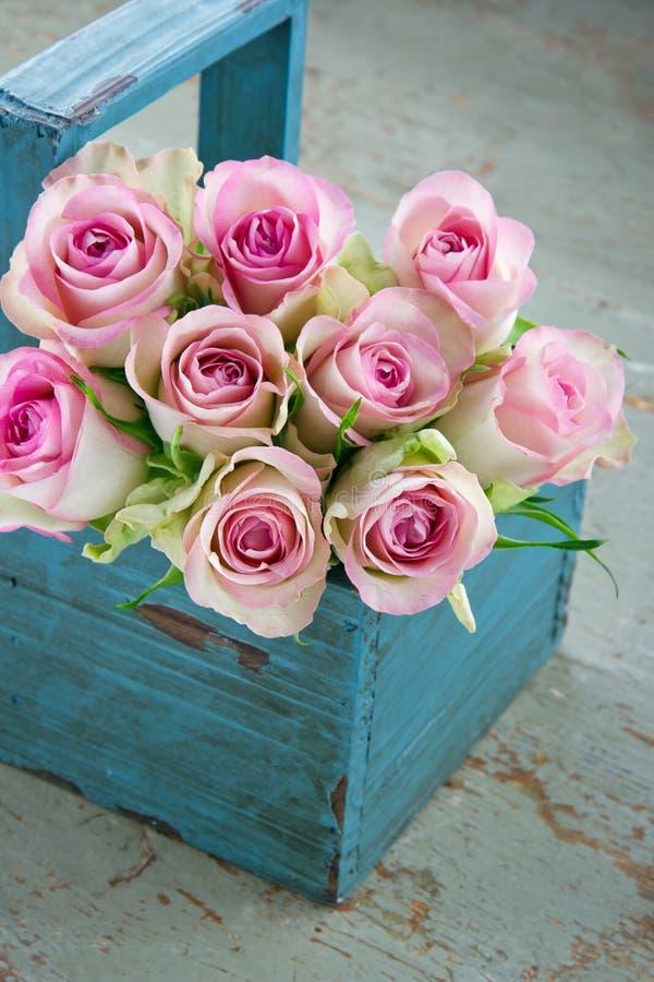 在一个老蓝色木从事园艺的篮子的玫瑰 免版税图库摄影