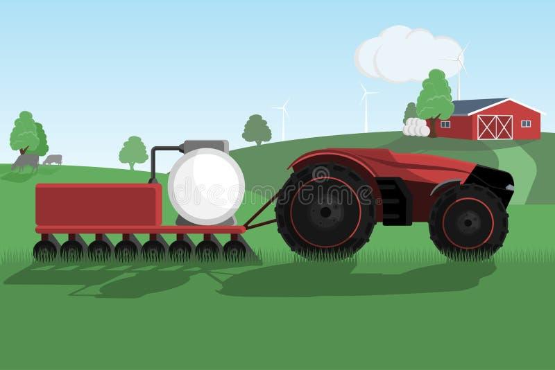 在一个聪明的农场的自治拖拉机 向量例证