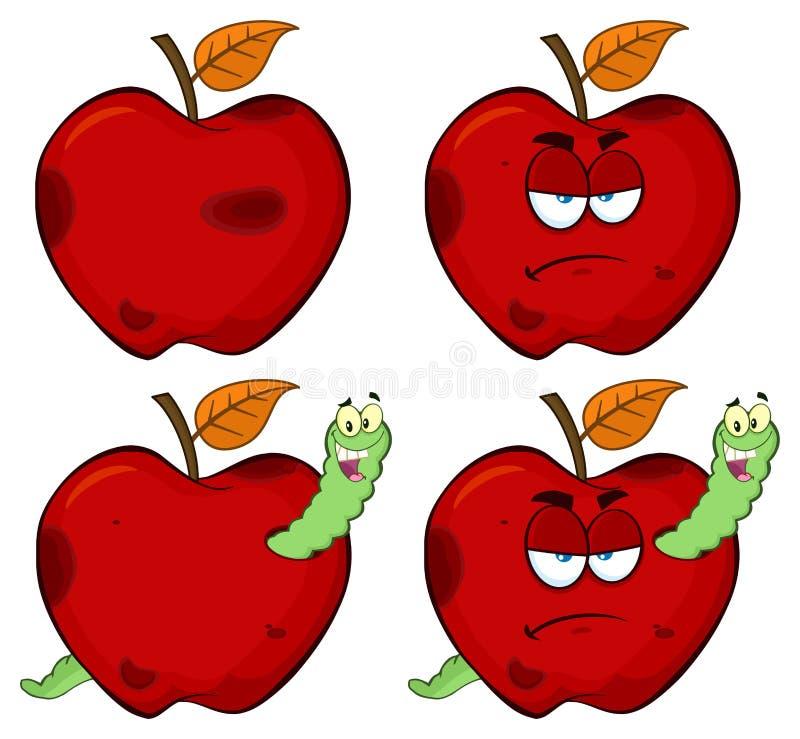 在一个脾气坏的腐烂的红色苹果计算机果子动画片吉祥人字符系列的愉快的蠕虫设置了1 汇集 向量例证