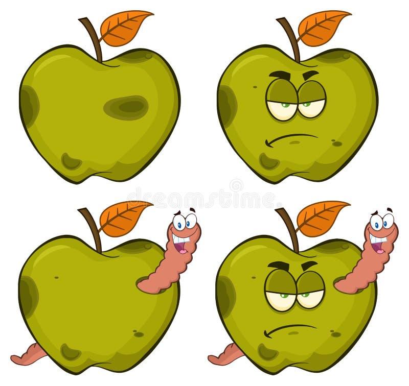 在一个脾气坏的腐烂的绿色苹果计算机果子动画片吉祥人字符系列的愉快的蠕虫设置了2 汇集 向量例证