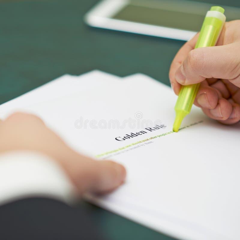 在一个良好行为准则定义的标号词 免版税库存照片