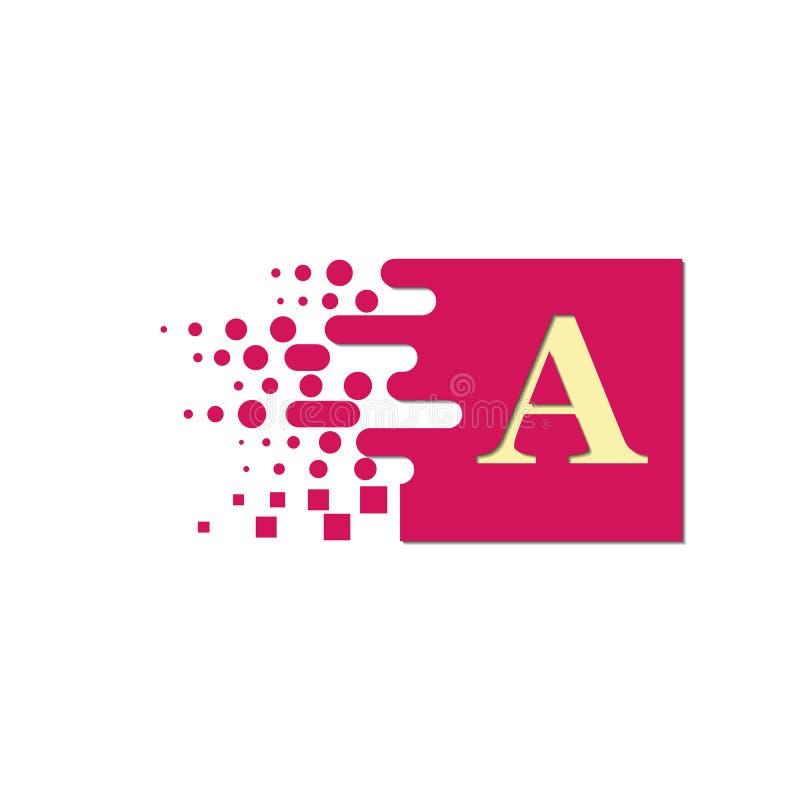 在一个色的正方形的信件A与被毁坏的块 库存例证