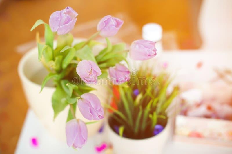 在一个花瓶的桃红色郁金香在厨房用桌上 好开始天 早晨心情 o 晴朗的春天早晨与 库存照片