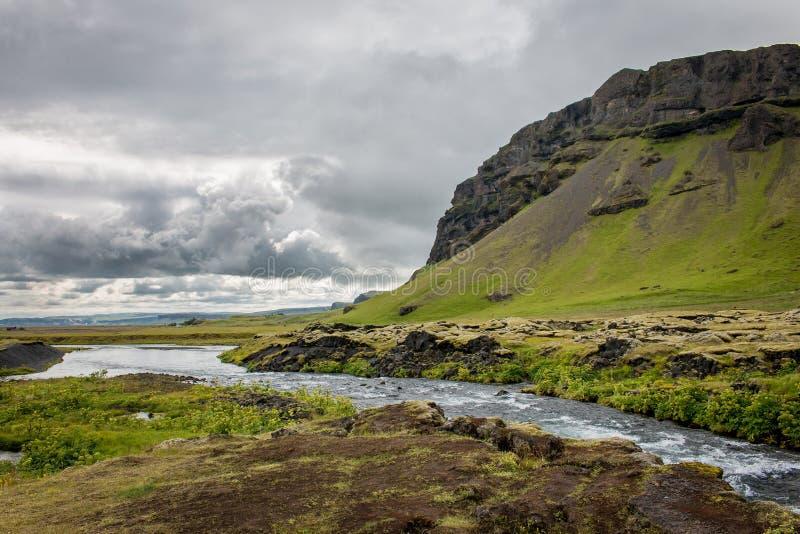 在一个草甸中间的洪流在冰岛 图库摄影