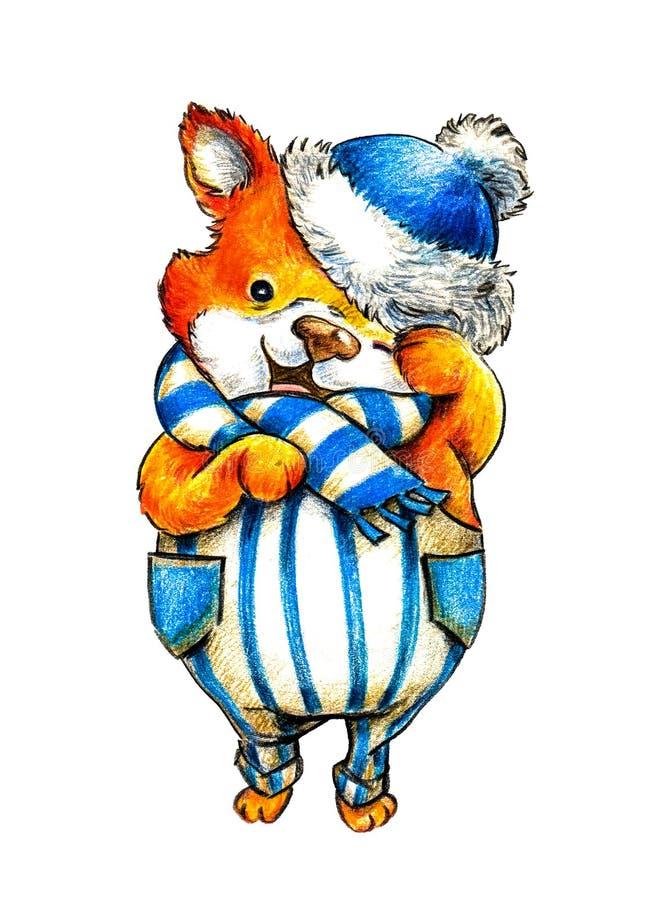 在一个蓝色冬天帽子和一条镶边围巾的动画片逗人喜爱的小的狐狸 向量例证