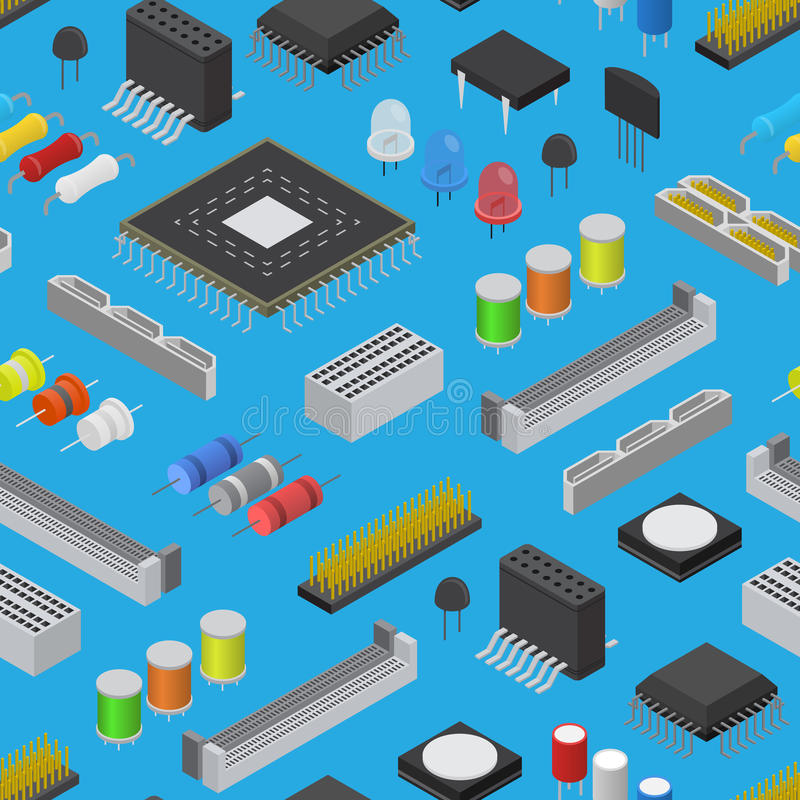 在一个蓝色等轴测图的计算机电子线路板组分背景样式 向量 库存例证