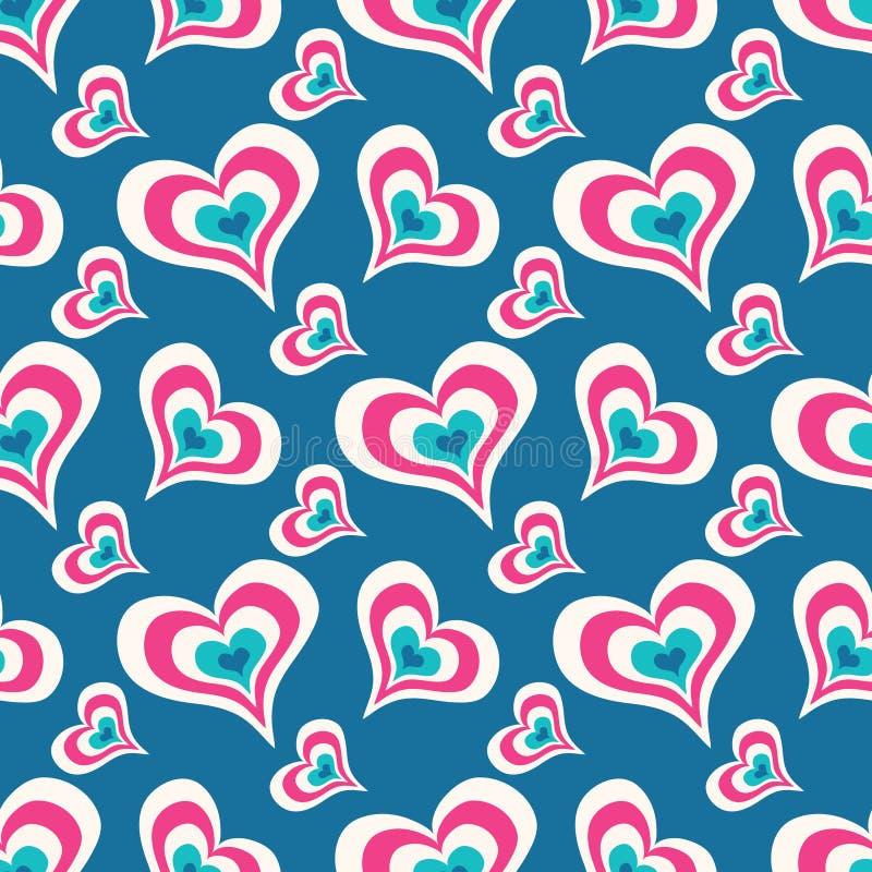 在一个蓝色背景无缝的华伦泰` s天样式的色的心脏您的设计的导航优质例证 库存例证