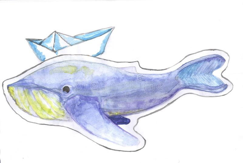 在一个虚幻的世界被困住的鲸鱼 库存图片