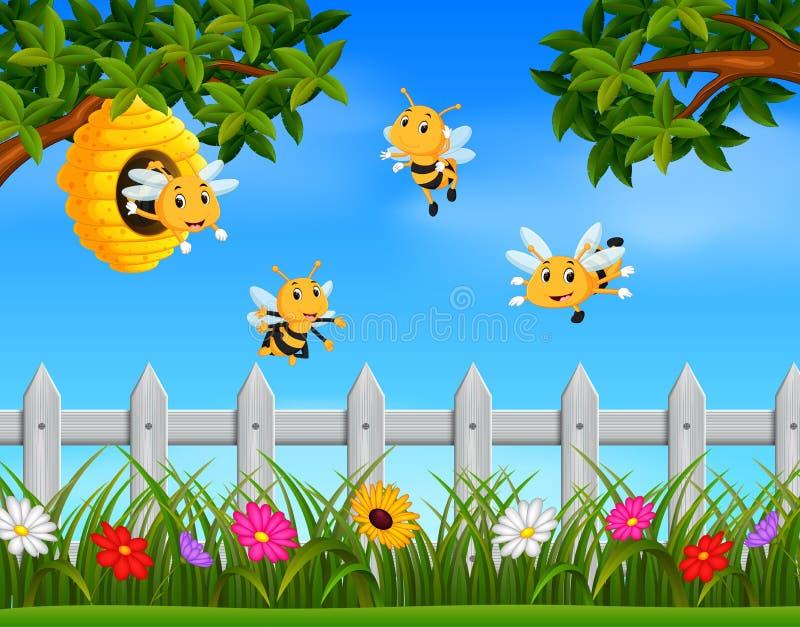 在一个蜂箱附近的蜂飞行在庭院里 皇族释放例证