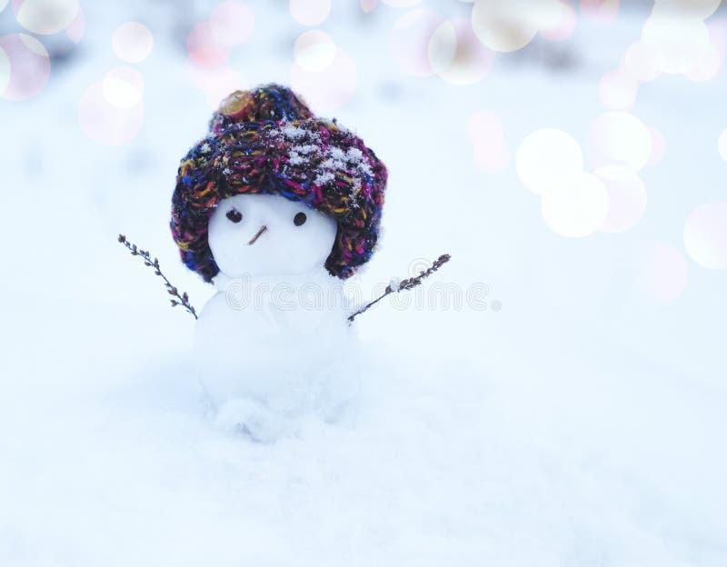 在一个被编织的盖帽的小雪人在雪在冬天 与一个可爱的雪人的欢乐背景 免版税库存图片