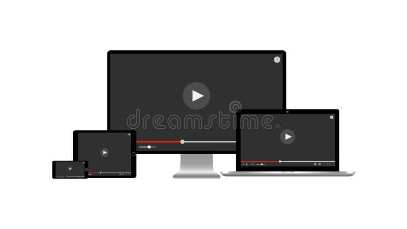 在一个被隔绝的多个设备桌面显示器膝上型计算机片剂和智能手机屏幕上的图象播放机有戏剧的按 库存例证