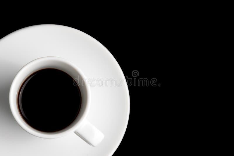 在一个角落的无奶咖啡与文本的空间 库存照片