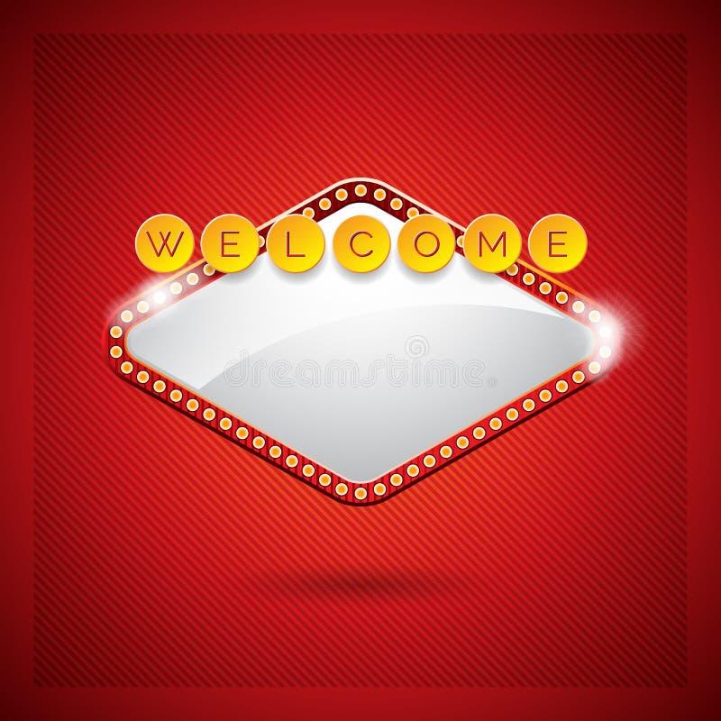 在一个赌博娱乐场题材的传染媒介例证与照明设备显示和欢迎在红色背景发短信 向量例证