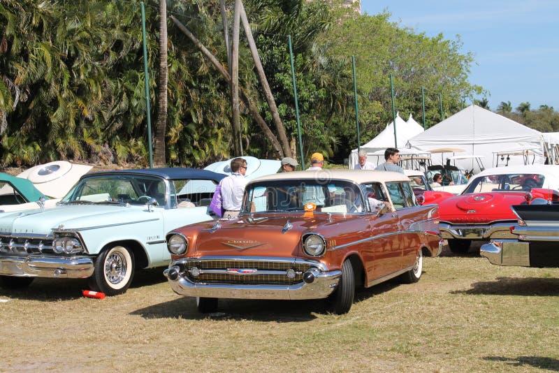 在一个车展的经典美国汽车在佛罗里达 免版税库存照片