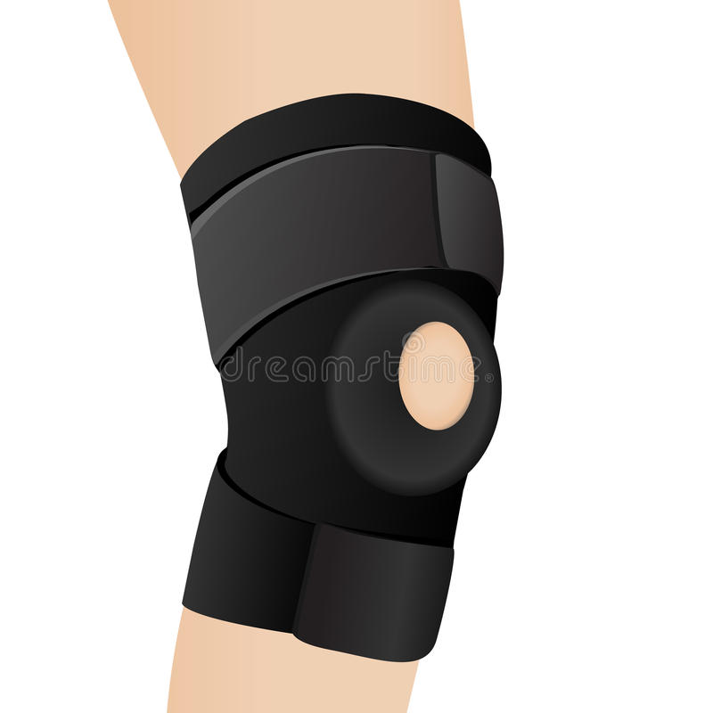 在一个酸疼的膝盖的绷带 皇族释放例证