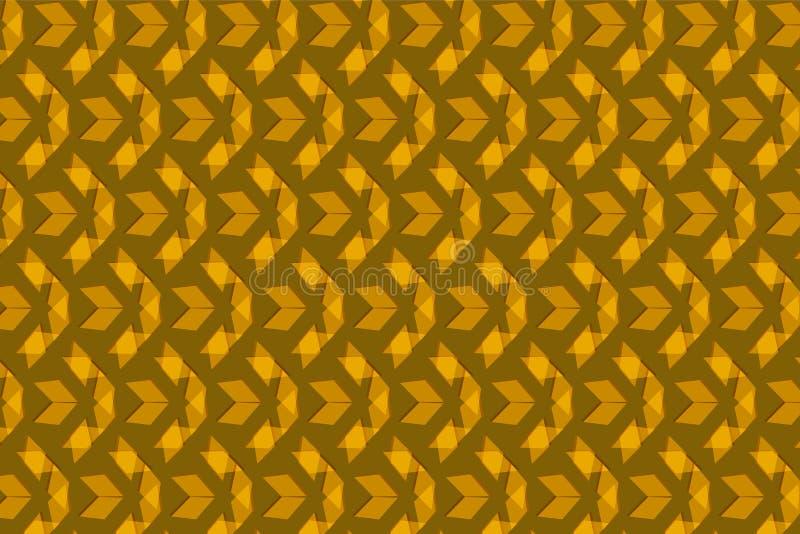 在一个重复的样式的金黄棕色三角在棕色背景 皇族释放例证