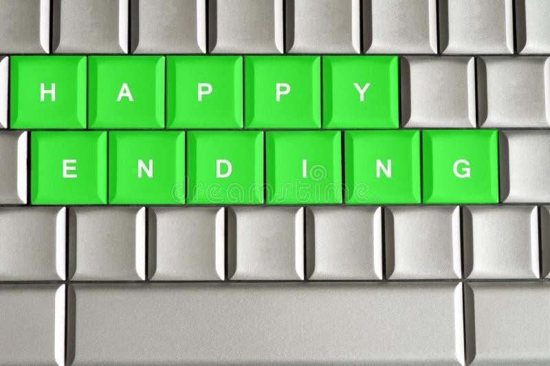 在一个金属键盘拼写的愉快的结尾 皇族释放例证