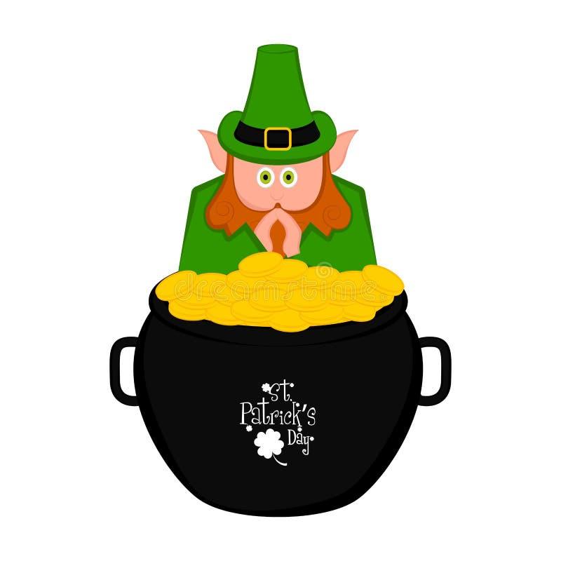 在一个金黄硬币罐的爱尔兰矮子 向量例证