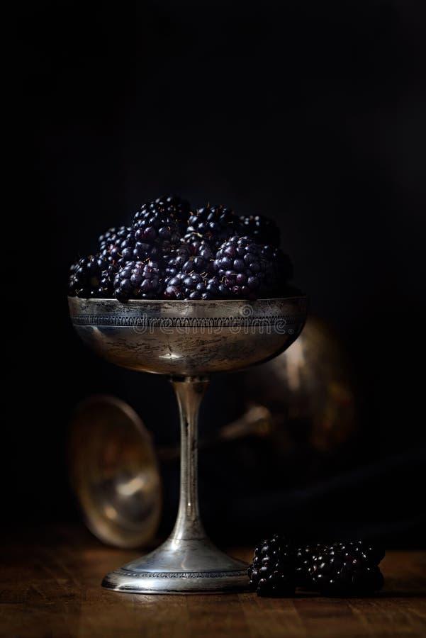 在一个银色老杯子的黑莓在黑暗的样式食物摄影 免版税库存图片