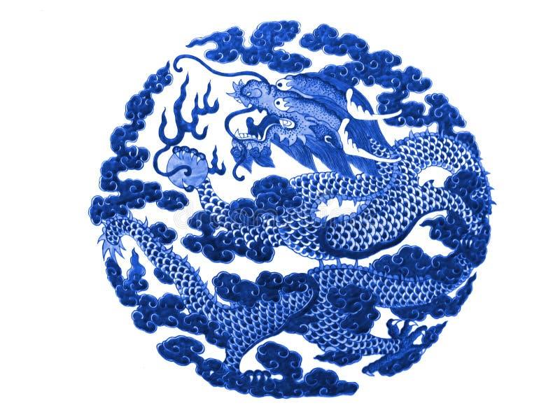 在一个陶瓷花瓶绘的中国龙 免版税库存图片