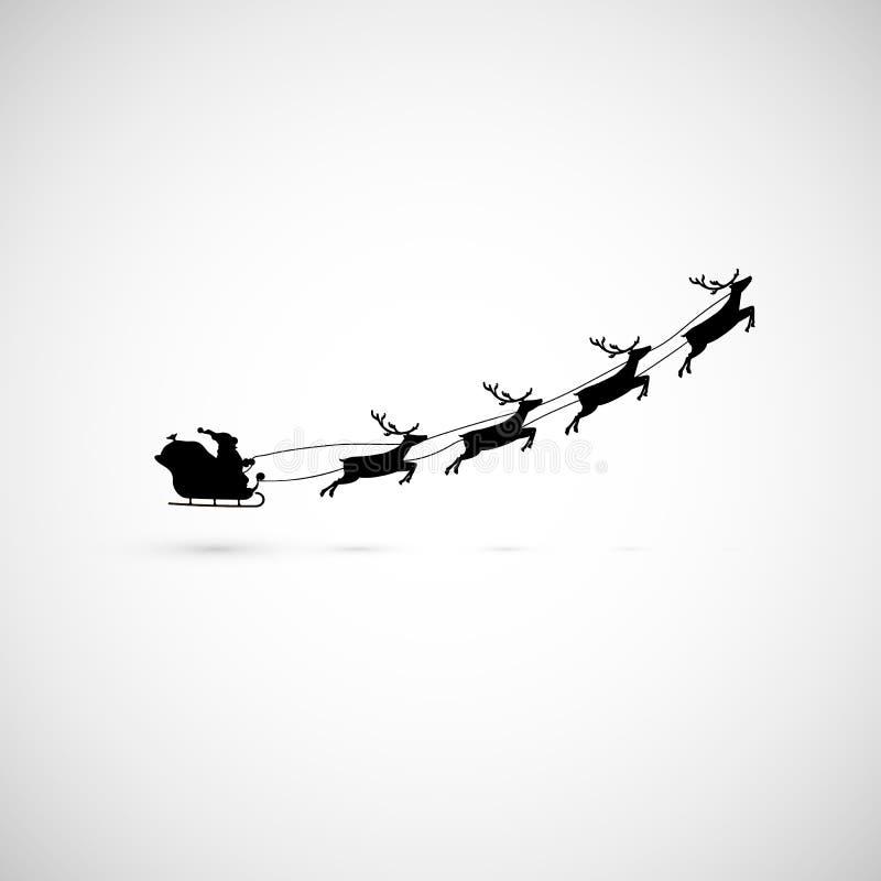 在一个雪橇的圣诞老人与驯鹿飞行  也corel凹道例证向量 库存例证