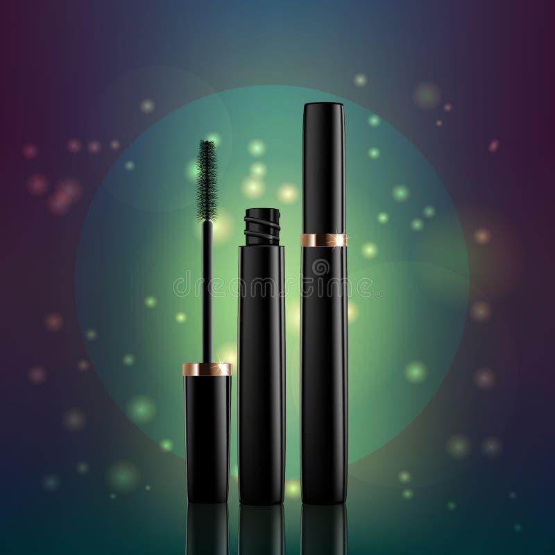 在一个青绿的背景,化妆用品包装和刷子涂药器,传染媒介的染睫毛油 库存例证