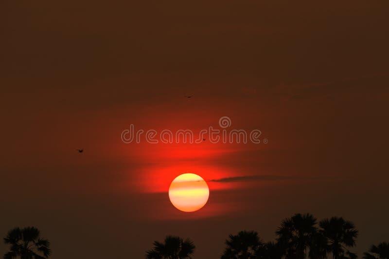 在一个领域在乡下,自然日落日出Ove的日落 免版税库存图片