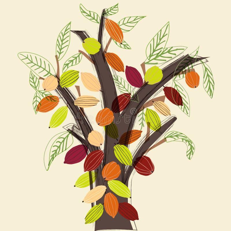 在一个风格化现代样式的五颜六色的可可树例证 向量例证