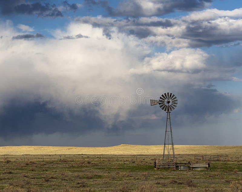 在一个风雨如磐的下午的一台孤立风车 免版税库存图片