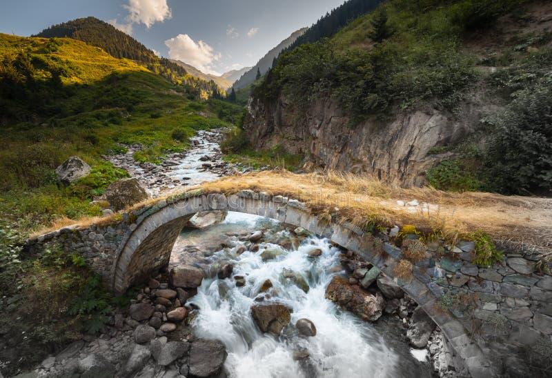 在一个高原的小老和新的桥梁在Kackar山在黑海地区,土耳其 图库摄影
