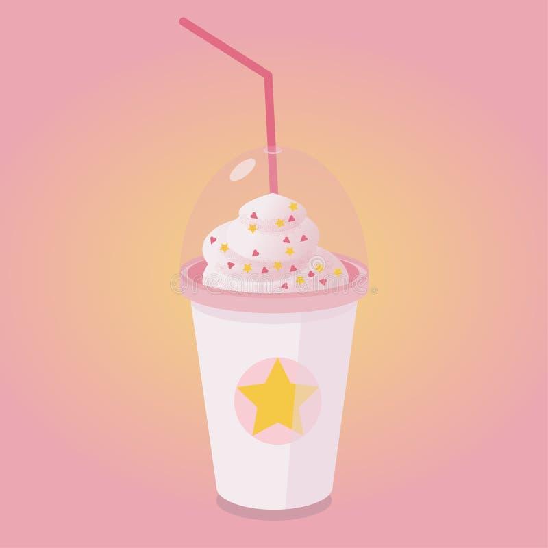 在一个高杯子的咖啡有打好的奶油的 Frappuccino 库存例证