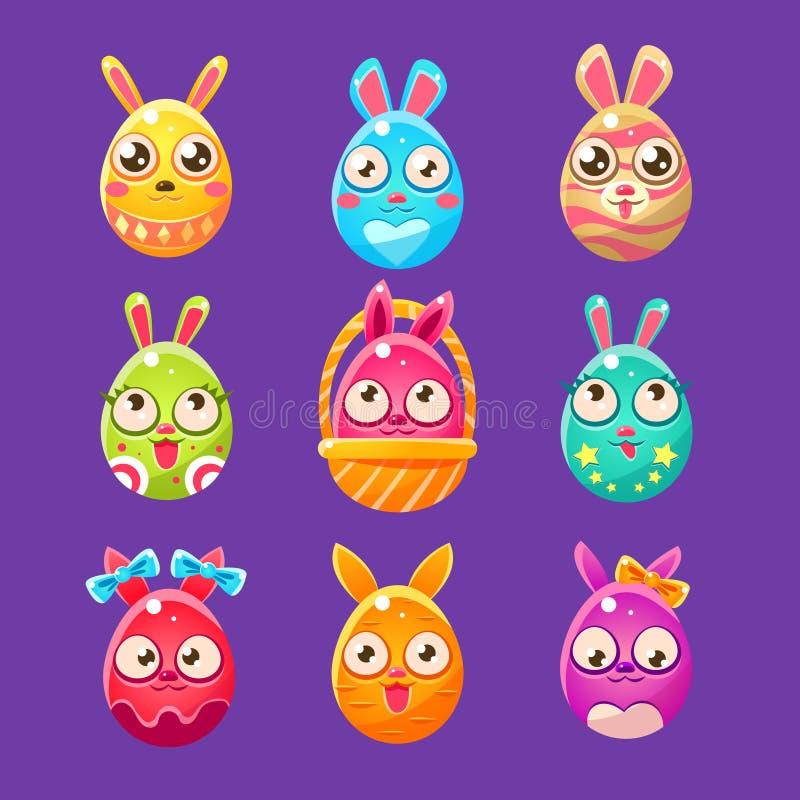 在一个鸡蛋的形状的复活节兔子用不同的设计 库存例证