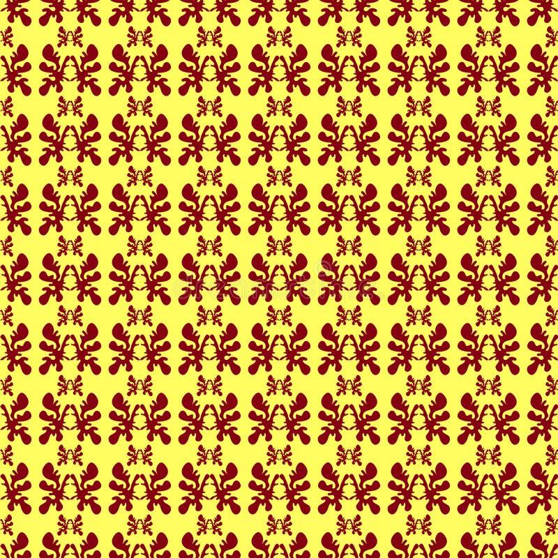在一个黄色背景无缝的样式例证的布朗抽象对象 库存例证