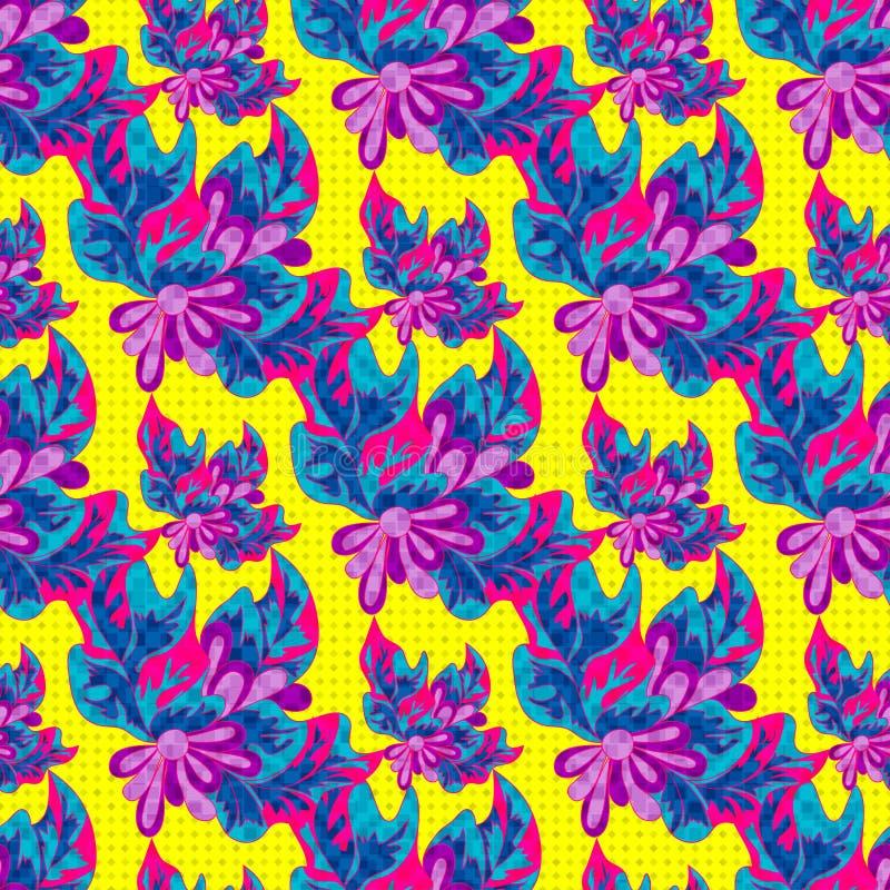 在一个黄色背景无缝的样式例证的荧光的抽象花 向量例证
