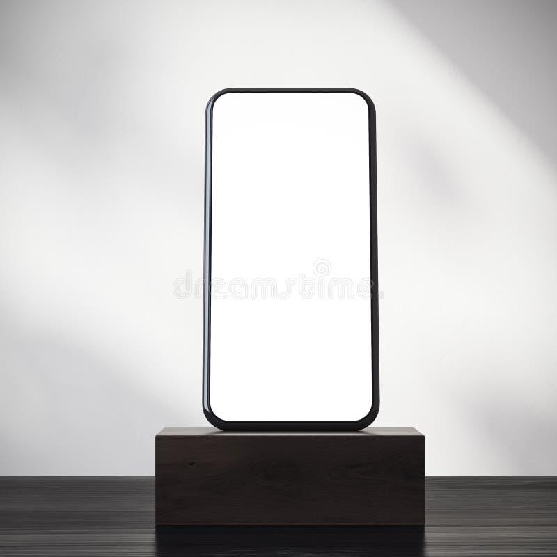 在一个黑暗的木垫座的智能手机 皇族释放例证