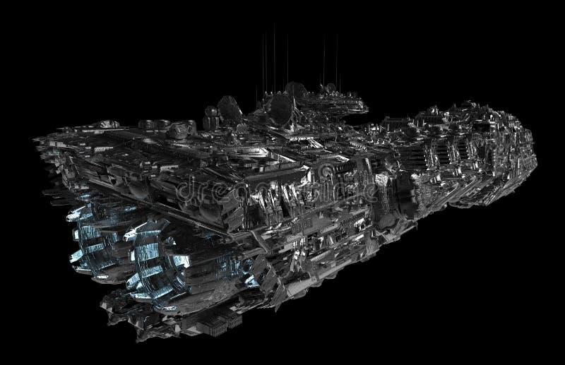 在一个黑背景3d例证隔绝的太空飞船 皇族释放例证