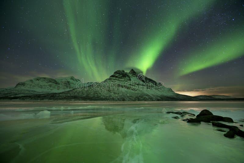 在一个冻湖的极光borealis在北挪威 免版税库存照片