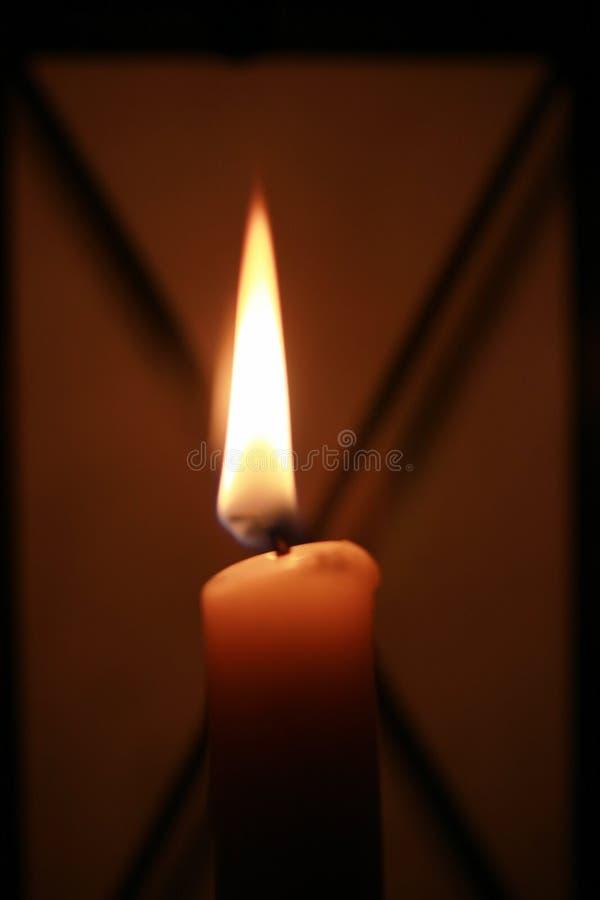 在一个玻璃管的蜡烛 库存照片