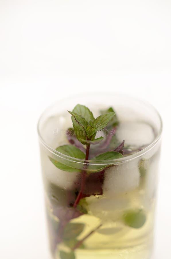 在一个玻璃觚的肯塔基德比饮料在轻的背景 图库摄影