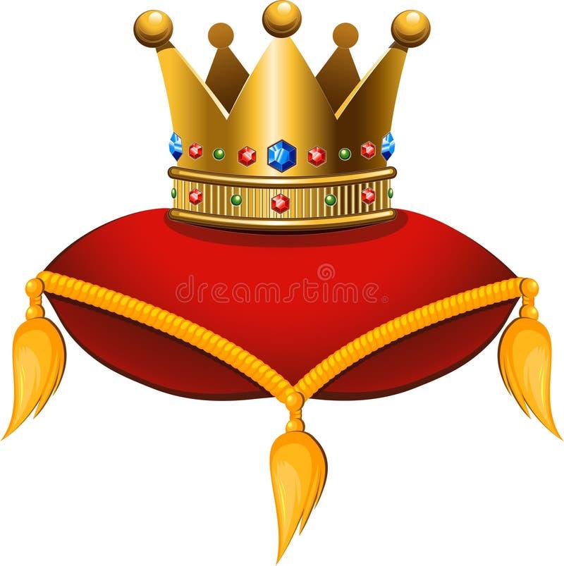 在一个绯红色坐垫的金冠 皇族释放例证