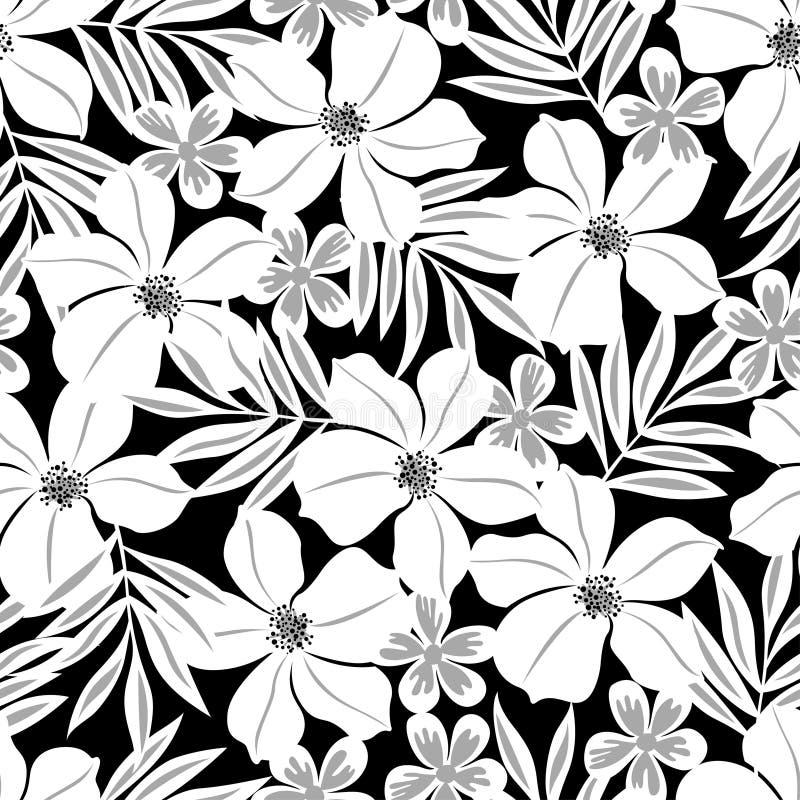 在一个黑背景无缝的样式的白色热带花 库存例证