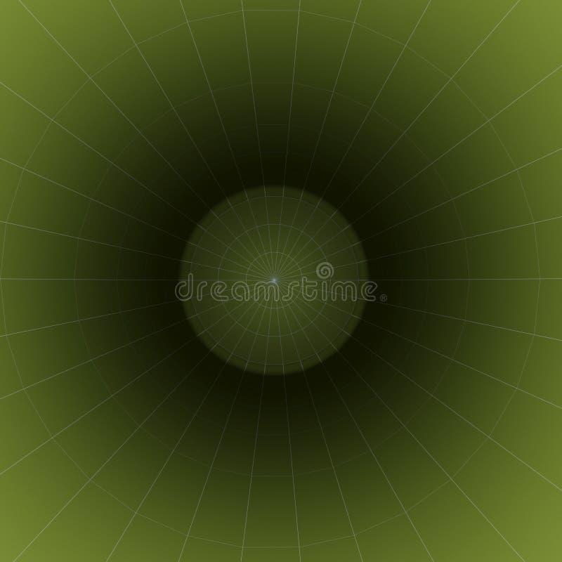 在一个绿色圆筒里面的透视图 库存照片