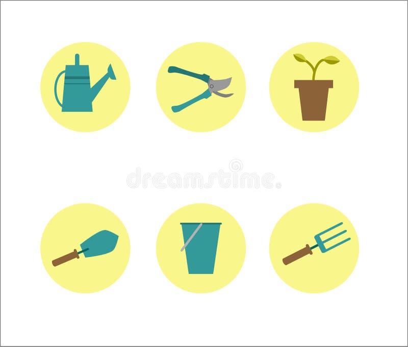 在一个黄色圈子的园艺工具 免版税库存照片
