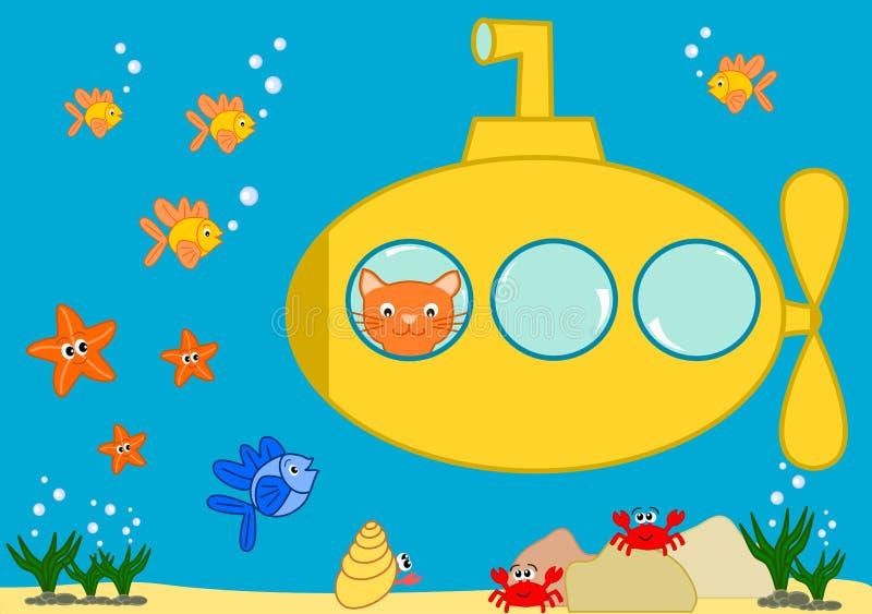 在一个黄色水下滑稽的动画片例证的橙色猫 向量例证