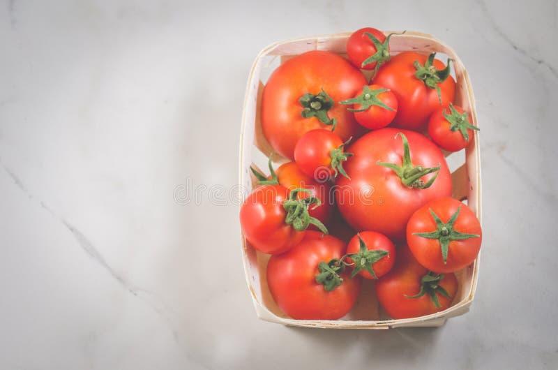 在一个wattled容器/蕃茄的蕃茄在一白色大理石背景、顶视图和copyspace的一个wattled容器 库存照片