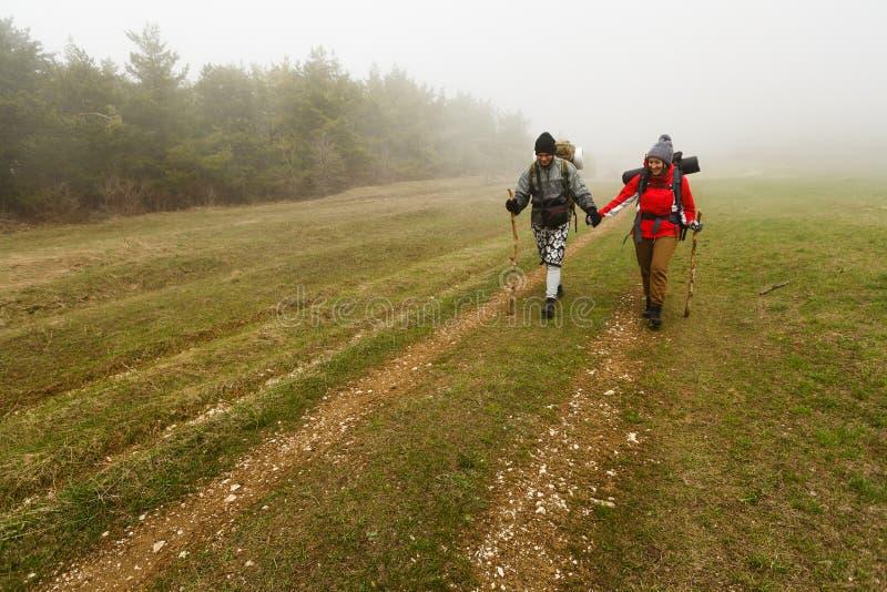 在一串有雾的森林足迹的远足者步行 免版税库存照片
