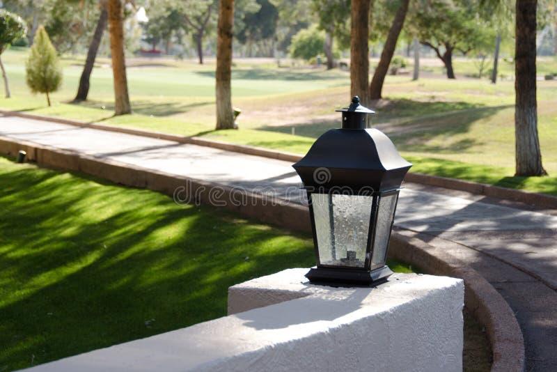 在一串足迹的街灯在斯科茨代尔手段的棕榈凹线 免版税库存照片