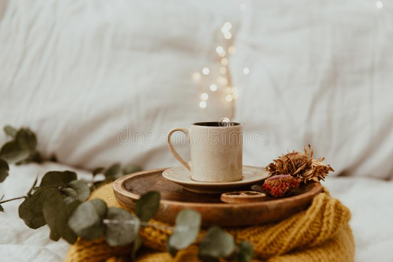 在一件木盘子和温暖的毛线衣安置的咖啡杯有背景光bokeh迷离的  早晨在床上 免版税库存图片